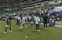 PALMIRA – COLOMBIA, 12-09-2021: Deportivo Cali e Independiente Santa Fe en partido por la final, vuelta, como parte de la Liga Femenina BetPlay DIMAYOR 2021 jugado en el estadio Deportivo Cali - Myriam Guerrero de la ciudad de Palmira. / Deportivo Cali and Independiente Santa Fe in match for the final, second leg, as part of Women's League BetPlay DIMAYOR 2021 played at Deportivo Cali - Myriam Guerrero stadium in Palmira city. Photo: VizzorImage / Gabriel Aponte / Staff