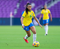 ORLANDO, FL - FEBRUARY 18: Beatriz #16 of Brazil dribbles during a game between Argentina and Brazil at Exploria Stadium on February 18, 2021 in Orlando, Florida.