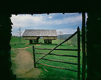 Double-cantilever barn at the Tipton Place in Cades Cove; Great Smoky Mountains National Park, TN