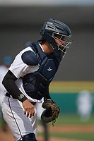 Detroit Tigers catcher Eduardo Valencia (60) during a Florida Instructional League game against the Pittsburgh Pirates on October 16, 2020 at Joker Marchant Stadium in Lakeland, Florida.  (Mike Janes/Four Seam Images)