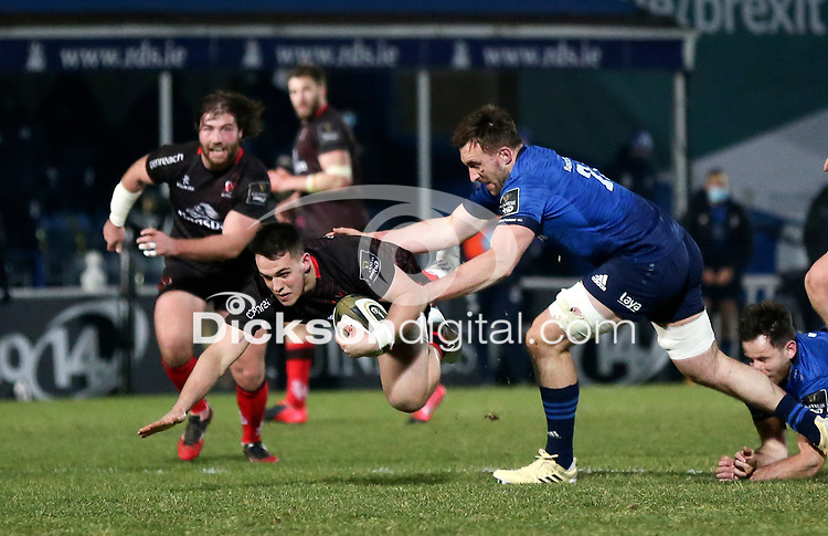 8th January 2021 | Leinster vs Ulster <br /> <br /> James Hume is tackled by Jack Conan during the PRO14 Round 11 clash between Leinster Rugby and Ulster Rugby at the RDS Arena, Ballsbridge, Dublin, Ireland. Photo by John Dickson/Dicksondigital