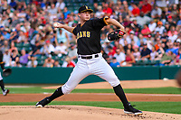 Indianapolis Indians pitcher Mitch Keller (49) delivers a pitch during an International League game against the Buffalo Bisons on July 28, 2018 at Victory Field in Indianapolis, Indiana. Indianapolis defeated Buffalo 6-4. (Brad Krause/Four Seam Images)