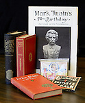 A few Mark Twain-related items from the personal collection Jerry Bartholomew is donating to the Carson City Library. Bartholomew, talked Wednesday, Sept. 12, 2012 at the BRIC about the Mark Twain books and other memorabilia he's been collecting since the late 1960's. .Photo by Cathleen Allison