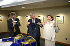 Sept. 28, 2011; Dr. Horst Koehler, former President of the Federal Republic of Germany and his wife Eva Louise receive gifts from the Nanovic Institute...Photo by Matt Cashore/University of Notre Dame