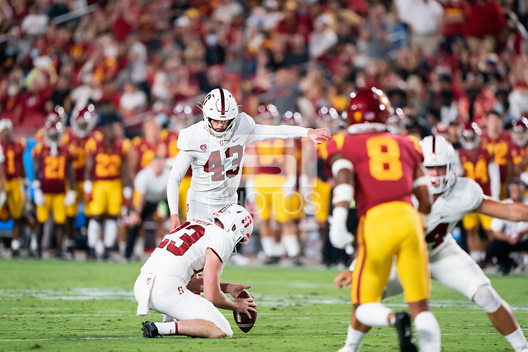 LOS ANGELES, CA - SEPTEMBER 11: Joshua Karty during a game between University of Southern California and Stanford Football at Los Angeles Memorial Coliseum on September 11, 2021 in Los Angeles, California.