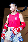 Chao Chi Meng (Red) of Macau enters the ring prior the male muay 57KG division weight bout against  Lam Lit Tung (Not in picture) of Hong Kong during the East Asian Muaythai Championships 2017 at the Queen Elizabeth Stadium on 12 August 2017, in Hong Kong, China. Photo by Yu Chun Christopher Wong / Power Sport Images
