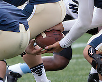 Pitt quarterback Tom Savage takes a snap from center Artie Rowell. The North Carolina Tar Heels defeated the Pitt Panthers 34-27 at Heinz Field, Pittsburgh Pennsylvania on November 16, 2013.