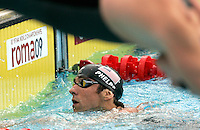U.S. Michael Phelps reacts after taking part in the Men's 4x200m Freestyle event at the Swimming World Championships in Rome, 31 July 2009. U.S. team won the gold medal..UPDATE IMAGES PRESS/Riccardo De Luca