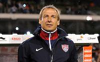 Juergen Klinsmann, coach of team USA, reacts during the friendly match Belgium against USA at King Baudoin stadium in Brussel, Belgium on September 06th, 2011.