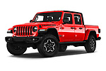 Stock pictures of low aggressive front three quarter view of a 2020 Jeep Gladiator Rubicon 4 Door Pick Up