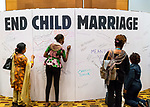 26 June, 2018, Kuala Lumpur, Malaysia : Writing messages on the board in The Village during the second day at the Girls Not Brides Global Meeting 2018 at the Kuala Lumpur Convention Centre. Picture by Graham Crouch/Girls Not Brides