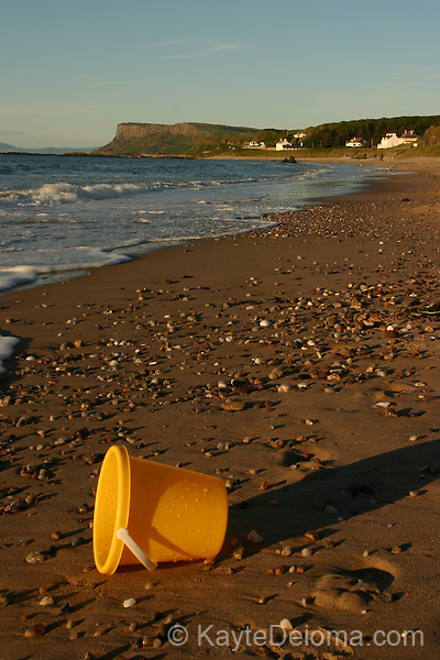 Ballycastle Beach with Fair Head in the background, Ballycastle, County Antrim, Northern Ireland