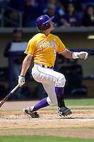 LSU Tigers outfielder Chris Sciambra #5 follows through on his swing against the Auburn Tigers in the NCAA baseball game on March 24, 2013 at Alex Box Stadium in Baton Rouge, Louisiana. LSU defeated Auburn 5-1. (Andrew Woolley/Four Seam Images).