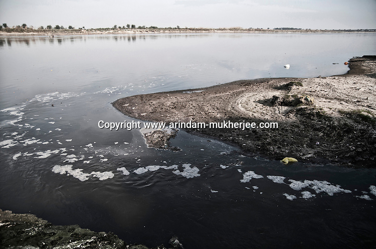 Waste water, containing harmful chemicals, from of the tanneries pouring into the Ganges at Jajmau area in Kanpur, Uttar Pradesh, India, Arindam Mukherjee..