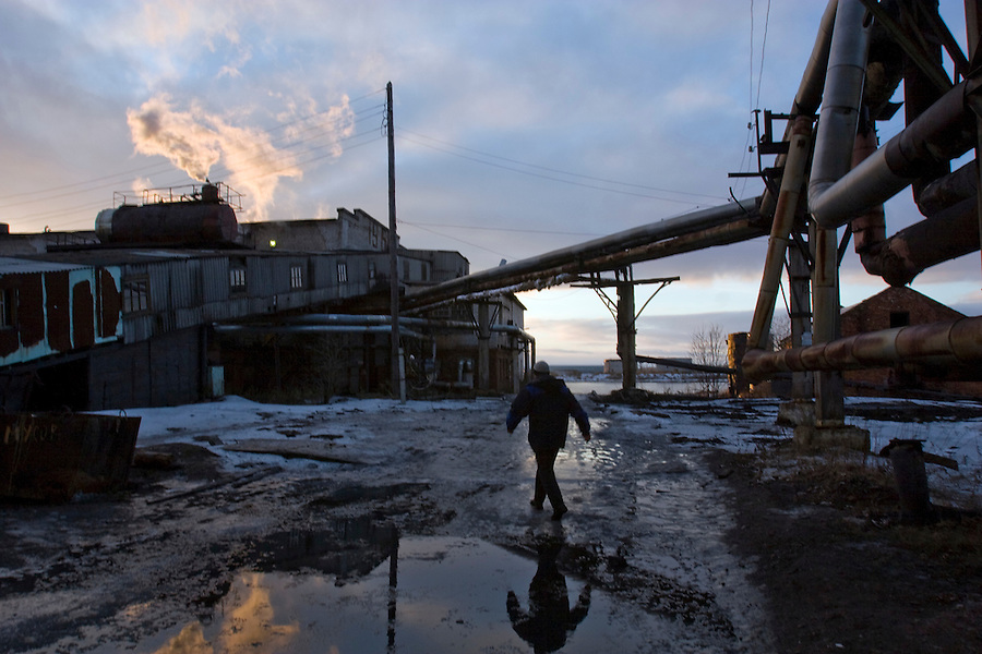 Maimaksa, Arkhangelsk, Russia, 10/12/2007..The old Maimaksa boiler house and its surroundings.