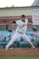 Carlos Diaz (37) of the San Jose Giants pitches against the Lancaster JetHawks at The Hanger on August 13, 2016 in Lancaster, California. Lancaster defeated San Jose, 16-2. (Larry Goren/Four Seam Images)