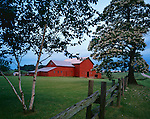 LaSalle County, IL<br /> Moring sun on red barn, rail fence and flowering catalpa tree