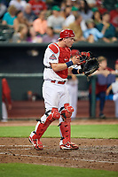 Memphis Redbirds catcher Carson Kelly (19) during a game against the Round Rock Express on April 28, 2017 at AutoZone Park in Memphis, Tennessee.  Memphis defeated Round Rock 9-1.  (Mike Janes/Four Seam Images)