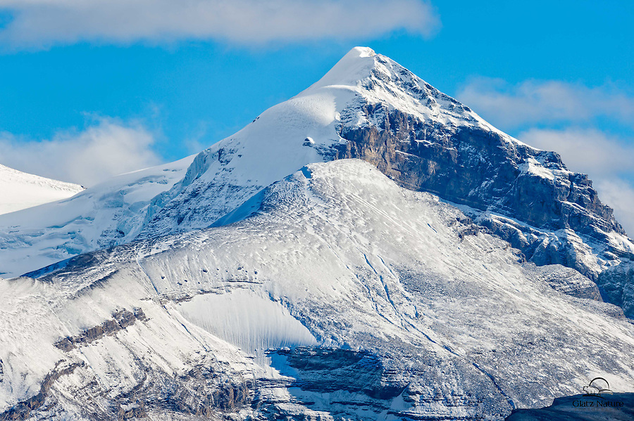 Snow-capped mountain peak overlooking Columbia Ice Field, Alberta, Canada.