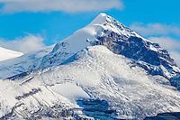 Snow-capped mountain peak overlooking Columbia Ice Field, Alberta, Canada.