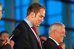 Wales's national rugby team who won both the Six Nations and the Grand Slam are welcomed to the National Assembly for Wales Senedd building in Cardiff Bay today for a public celebration event.  Captain Alun Wyn Jones alongside Coach Warren Gatland.
