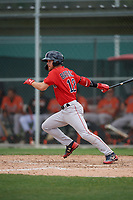 Boston Red Sox Korby Batesole (12) bats during a Minor League Spring Training game against the Baltimore Orioles on March 20, 2019 at the Buck O'Neil Baseball Complex in Sarasota, Florida.  (Mike Janes/Four Seam Images)