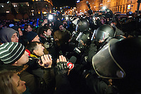 "Journalists facing the figters of the  special force ""Berkut""  on the European square in Kiev. Ukraine"