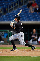 Jupiter Hammerheads center fielder Brian Miller (5) follows through on a swing during a game against the Clearwater Threshers on April 12, 2018 at Spectrum Field in Clearwater, Florida.  Jupiter defeated Clearwater 8-4.  (Mike Janes/Four Seam Images)
