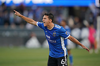 SAN JOSE, CA - JULY 24: Shea Salinas #6 of the San Jose Earthquakes reacts during a game between Houston Dynamo and San Jose Earthquakes at PayPal Park on July 24, 2021 in San Jose, California.