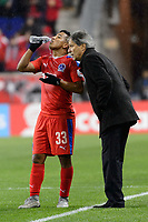 Harrison, NJ - Thursday March 01, 2018: Michael Chirinos, Carlos Restrepo. The New York Red Bulls defeated C.D. Olimpia 2-0 (3-1 on aggregate) during a 2018 CONCACAF Champions League Round of 16 match at Red Bull Arena.