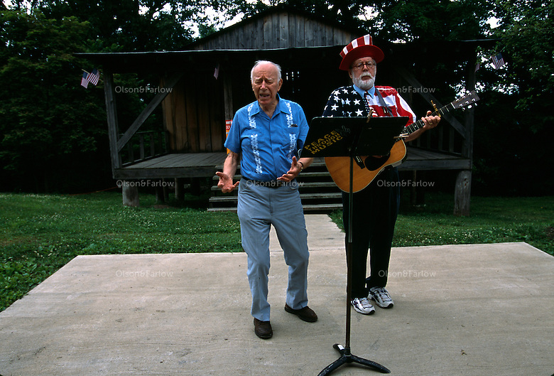 Former congressman and secretary of state Ken Hechler has entered the race for U.S. Senate, and he's running on one issue -- ending the practice of mountaintop removal.He is pictured on the right singing at a gathering on Larry Gibson's family land.