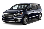 2015 KIA Sedona LX Hybrid 5 Door Mini Van angular front stock photos of front three quarter view