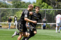 Hamish Watson of Team Wellington celebrates a goal with team mates during the ISPS Handa Men's Premiership - Team Wellington v Waitakere Utd at David Farrington Park,Wellington on Saturday 30 January 2021.<br /> Copyright photo: Masanori Udagawa /  www.photosport.nz