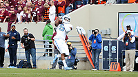 BLACKSBURG, VA - OCTOBER 19: Dazz Newsome #5 of the University of North Carolina catches a touchdown pass during a game between North Carolina and Virginia Tech at Lane Stadium on October 19, 2019 in Blacksburg, Virginia.