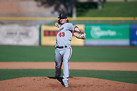 Surprise Saguaros relief pitcher Ryan Eades (43), of the Minnesota Twins organization, delivers a pitch to the plate during an Arizona Fall League game against the Scottsdale Scorpions on October 27, 2017 at Scottsdale Stadium in Scottsdale, Arizona. The Scorpions defeated the Saguaros 6-5. (Zachary Lucy/Four Seam Images)