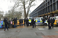 General view as the police and members of the media look on during a protest against the construction of the HS2 railway line at Euston Square Gardens on 27th January 2021