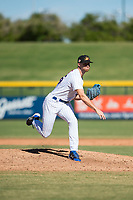 Mesa Solar Sox relief pitcher Bailey Clark (35), of the Chicago Cubs organization, follows through on his delivery during an Arizona Fall League game against the Glendale Desert Dogs at Sloan Park on October 27, 2018 in Mesa, Arizona. Glendale defeated Mesa 7-6. (Zachary Lucy/Four Seam Images)