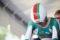 Vasil Kiryienka (BLR/SKY) on the start ramp<br /> <br /> Elite Men TT<br /> UCI Road World Championships / Richmond 2015