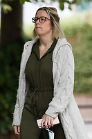 """Pictured: Kathryn Rich arrives at the Crown Court in Merthyr Tydfil, Wales, UK. Wednesday 18 August 2021<br /> Re: Businessman Scott Richards, who tried to drown his partner Kathryn Rich when their relationship broke down at the start of the national lockdown, is on trial at Merthyr Tydfil Crown Court, Wales, UK.<br /> Richards, 31, is accused of holding Kathryn Rich's head underwater in the bath at their family home.<br /> The alleged """"drowning"""" incident happened on April 4 when Ms Rich was following NHS guidelines to have a bath after finishing her shift."""