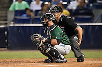 Daytona Tortugas catcher Cam Maron (7) and umpire Derek Ivinski during a game against the Tampa Yankees on April 24, 2015 at George M. Steinbrenner Field in Tampa, Florida.  Tampa defeated Daytona 12-7.  (Mike Janes/Four Seam Images)