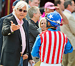 MAY 15, 2015: Trainer Bob Baffert talks with jockey Martin Garcia after the Black-Eyed Susan Stakes at Pimlico Race Course in Baltimore, Maryland. at Pimlico Race Course in Baltimore, Maryland. Scott Serio/ESW/Cal Sport Media