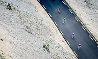 Green Jersey / points leader Mark Cavendish (GBR/Deceuninck - Quick Step) rushing down the Mont Ventoux, trying to make the time cut while escorted by 3 teammates.<br /> <br /> Stage 11 from Sorgues to Malaucène (199km) running twice over the infamous Mont Ventoux<br /> 108th Tour de France 2021 (2.UWT)<br /> <br /> ©kramon