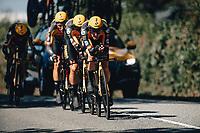 7th September 2021: Llandeilo, Wales:The AJ Bell Tour Of Britain 2021. Stage 3 Llandeilo to National Botanic Garden of Wales. Team Time Trial. Team Jumbo-Visma. VAN AERT Wout, BENNETT George, HARPER Chris, EENKHOORN Pascal,  LEEMREIZE Gijs, MARTIN Tony .