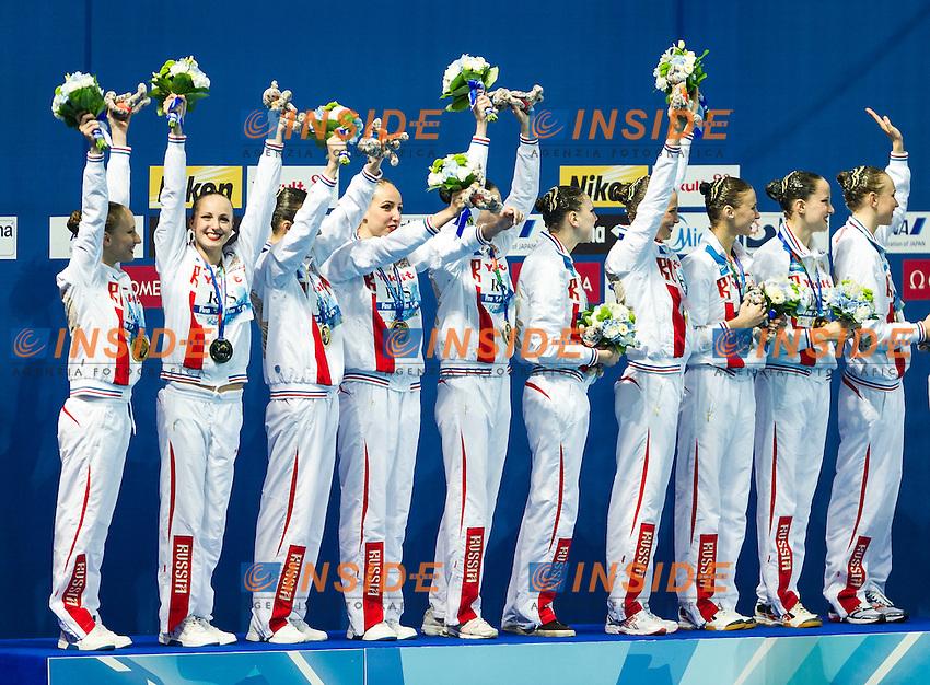 Podium<br /> Gold Medal<br /> RUS - Russian Federation<br /> CHIGIREVA Vlada KALANCHA Mikhaela<br /> KOLESNICHENKO Svetlana NIZAMOVA Liliia<br /> PATSKEVICH Aleksandra PROKOFYEVA Elena<br /> SHISHKINA Alla SHUROCHKINA Maria<br /> TIMANINA Anzhelika TOPILINA Gelena<br /> Day9 01/08/2015<br /> XVI FINA World Championships Aquatics<br /> Synchro<br /> Kazan Tatarstan RUS July 24 - Aug. 9 2015 <br /> Photo Pasquale Mesiano/Deepbluemedia/Insidefoto