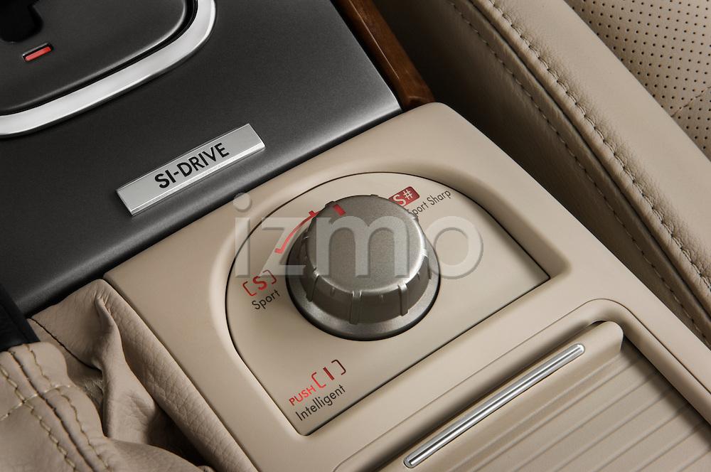 Closeup of traction control knob on a 2008 Subaru Legacy Sedan 2008 Subaru Legacy GT sedan.