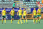 The Hague, Netherlands, June 07: Players of celebrate after scoring during the field hockey group match (Men - Group A) between England and Australia on June 7, 2014 during the World Cup 2014 at Kyocera Stadium in The Hague, Netherlands. Final score 0-5 (0-4) (Photo by Dirk Markgraf / www.265-images.com) *** Local caption ***