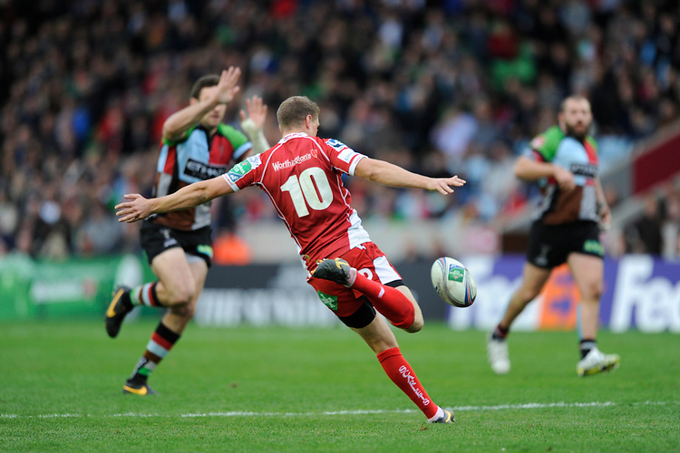 Rhys Priestland of Scarlets clears his line during the Heineken Cup Round 1 match between Harlequins and Scarlets at the Twickenham Stoop on Saturday 12th October 2013 (Photo by Rob Munro)