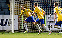Cowdenbeath's Kane Hemmings (21) celebrates after he scores their first goal.