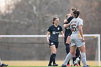 LOUISVILLE, KY - MARCH 13: Chinyelu Asher #43 of Racing Louisville FC smiles after a goal during a game between West Virginia University and Racing Louisville FC at Thurman Hutchins Park on March 13, 2021 in Louisville, Kentucky.