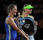 Victoria Azarenka wins the finals of the US Open in Melbourne Australia on January 27, 2012.